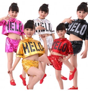 Silver Red black gold black fuchsia hot pink royal blue paillette girls kids children modern dance performance school play jazz hip hop dance costumes outfits