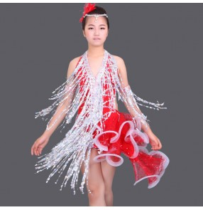 Silver red neon green white patchwork halter neck sequins side fringes tail tassels v neck backless girls kids children performance competition professional latin dance dresses outfits