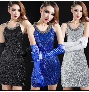 Silver royal blue black white gold sequins sleeveless round neck performance competition jazz dance costumes dresses