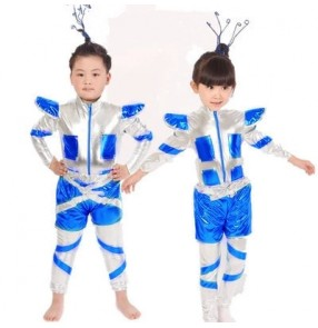 Silver royal blue patchwork glitter stage performance school  jazz singer space  astronaut cos play costumes dance wear oufits