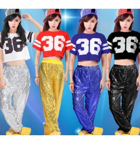 Silver royal blue red black sequins short sleeves girls fashion women's performance jazz ds dj singer hip hop dance costumes outfits dance wear costumes