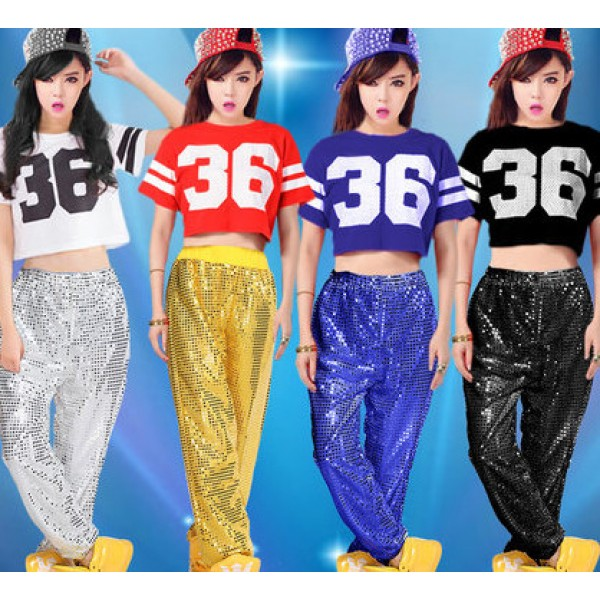 327f68a22 Silver royal blue red black sequins short sleeves girls fashion ...