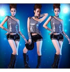 Silver sequins black leather patchwork tuxedo tops shorts women's ladies female fashion stage performance singer jazz hip hop dance costumes outfits