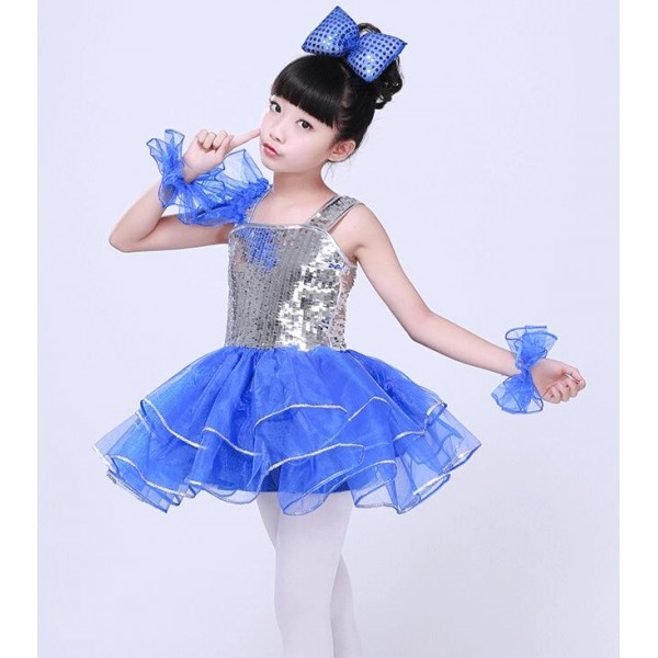 624f593594dd Silver sequins paillette royal blue patchwork girls kids school play ...