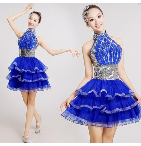 Silver sequins royal blue women's ladies female competition performance professional jazz ds singer dance costumes outfits hip hop dancing dresses