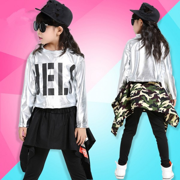 Silver Top Black Skirt Pants Camouflage Skirt Pants Girls Kids Children Street Dance School Play ...
