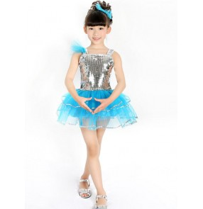 Silver turquoise patchwork girls kids child children toddlers modern princess dance school play performance jazz dance outfits costumes dresses