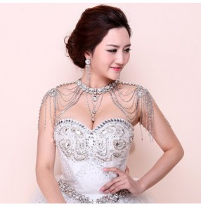 Silver white diamond alloy women's ladies female wedding evening party fashion jewelry bridal shoulder cape necklace
