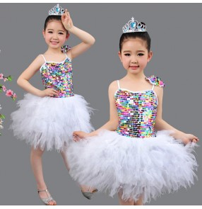 Silver white sequined girls kids children kindergarten toddlers modern dance stage performance party princess flower girls jazz dance school play outfits dresses