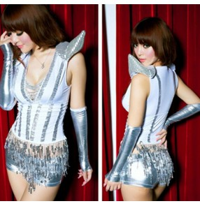 Silver white sequined patchwork fringes shrug shoulder women's ladies sexy modern dance dj ds jazz dance costumes performance outfits