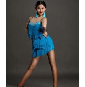 Sky blue turquoise fringes rhinestones backless women's ladies sleeveless competition performance latin dance dresses