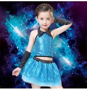 Sky blue turquoise fuchsia hot pink yellow red gold sequined girls kids child children modern stage performance jazz dance school t show dance dresses outfits costumes