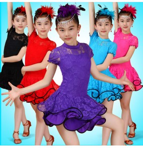 Sky blue turquoise royal blue turquoise red fuchsia hot pink red black violet purple turtle neck girls kids children  lace short sleeves gymnastics competition performance professional latin samba salsa dance dresses