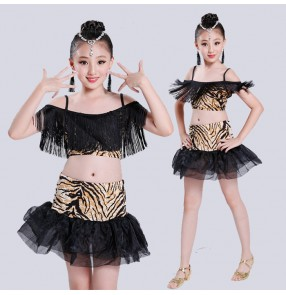 Tiger black patchwork fringes split set girls kids children school play competition performance latin ballroom rumba cha cha salsa dance dresses skirts outfits