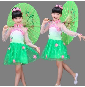 Tulle see through Long sleeves flowers green white patchwork girls kids children chinese folk dance cos play School play performance dresses outfits
