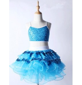 Turquoise blue fuchsia hot pink sequins girls kids split set children modern performance ballet leotard tutu dance dresses outfits