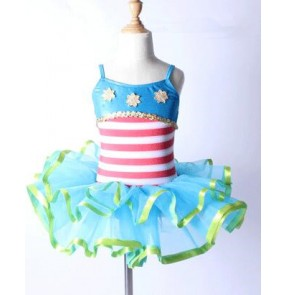 Turquoise blue green red and white striped patchwork strap backless sleeveless girls kids children performance competition professional  leotard tutu ballet dresses outfits