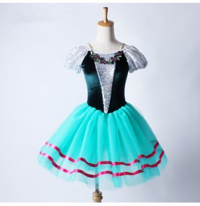 Turquoise blue green velvet girls kids children sequins stage performance competition ballet  leotards tutu skirt dance  dresses outfits costumes