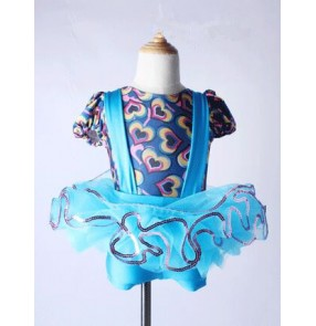 Turquoise blue printed patchwork suspender leotard printed spandex girls kids children performance competition modern tutu ballet dance outfits costumes