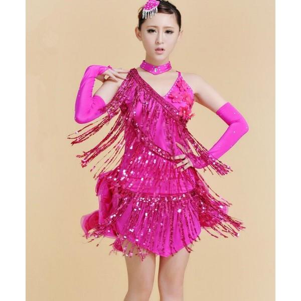 e726ca847 ... hot pink sequins fringes backless v neck fashion sexy girls children  women stage performance competition latin salsa samba ballroom dance dresses  ...
