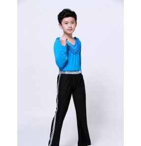 Turquoise blue yellow black long sleeves ruffles neck round neck Boys kids children competition performance school play  latin jazz ballroom tango dance outfits costumes sets