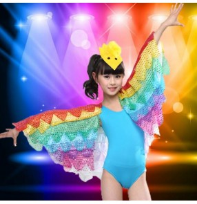 Turquoise blue yellow gold fuchsia hot pink butter fly rainbow swing sleeves girls kids child children modern dance stage performance jazz dance costumes outfits leotard tops