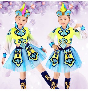 Turquoise blue yellow patchwork Mongolian Folk traditional performance girls kids children school play cos play dance dresses costumes outfits