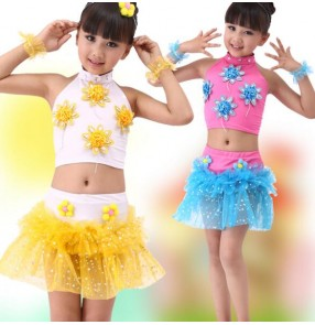 Turquoise fuchsia yellow patchwork sequined girls kids child children toddlers jazz modern dance performance school play costumes outfits