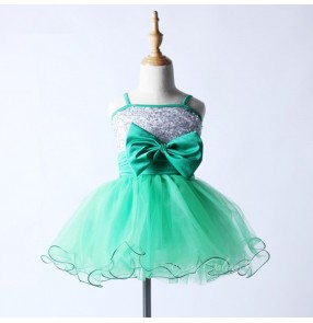 Turquoise green silver sequins patchwork with bowknot girls kids children performance professional tutu leotards skirt ballet dance dresses costumes outfits