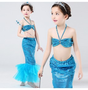 Turquoise hot pink fuchsia sequins mermaid girls kids children baby stage performance party school cos play princess jazz singer dance costumes outfits dresses