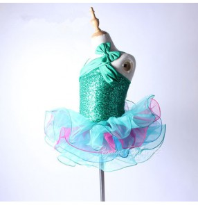 Turquoise patchwork tulle sequins girls kids children competition professional performance gymnastics ballet tutu dance  dresse outfits costumes