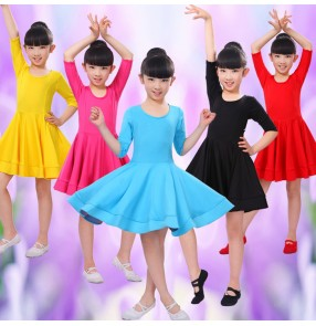 Turquoise red yellow sky blue fuchsia black short sleeves spandex round neck girls kids children school play  gymnastics performance professional competition ballroom latin dancing dresses outfits