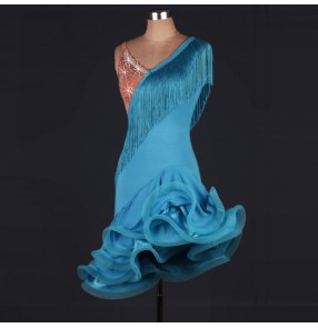 Turquoise sky blue rhinestones flesh patchwork backless competition performance professional latin ballroom dance dresses
