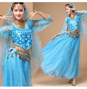 Turquoise sky blue royal blue fuchsia hot pink yellow violet purple red indian women's ladies competition performance silk belly dance costumes dresses set outfits