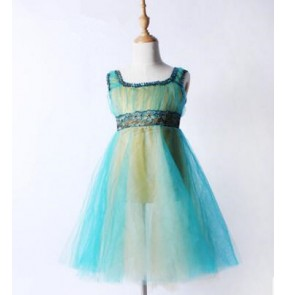 Turquoise tulle spandex fabric lace patchwork tank girls kids child children long length modern performance ballet dance dresses outfits