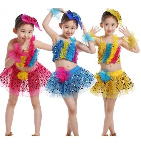 Turquoise yellow gold hot pink fuchsia sequined girls children toddlers kindergarten school play latin modern dance jazz dance outfits costumes