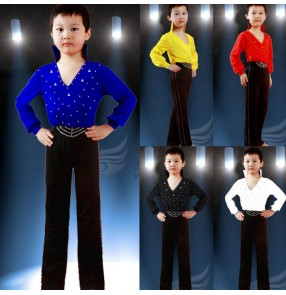 V neck stand collar rhinestones spandex long sleeves long pants boys kids child children baby school play stage performance competition leotard latin ballroom tango waltz dance dresses sets outfits dance wear sets