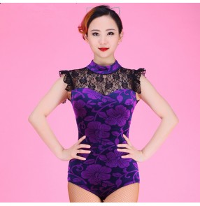 Velvet Violet purple floral  turtle neck lace see through back patchwork sleeveless women's ladies female fashion competition performance professional latin samba salsa cha cha leotards dance tops catsuits bodysuits