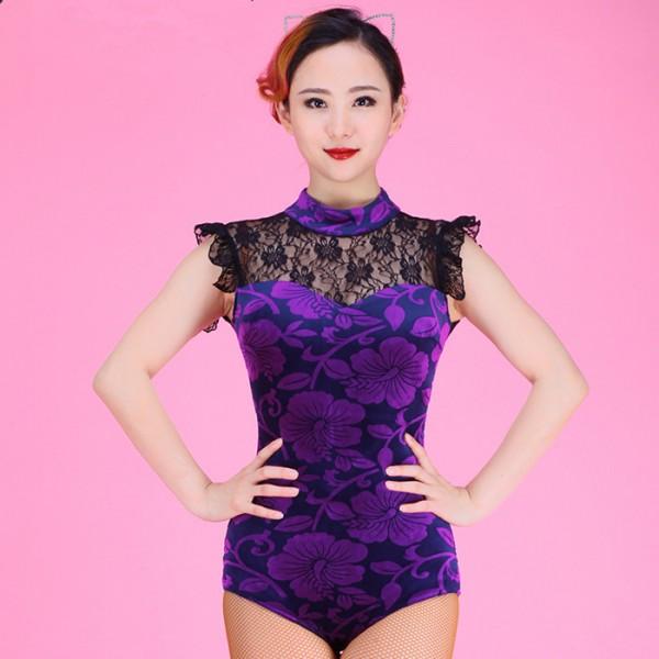 863aaf7d6cf0 Velvet Violet purple floral turtle neck lace see through back ...
