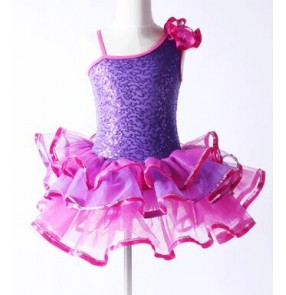 Violet purple hot pink fuchsia patchwork sequins one shoulder girls kids children leotard tutu ballet dance dresses outfits