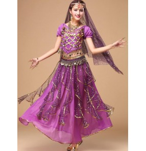 Violet purple red fuchsia hot pink royal blue turquoise yellow silk sequined women's girls performance belly dance costumes dresses outfits