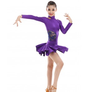 Violet purple royal blue fuchsia hot pink green long sleeves spandex lace patchwork girls kids children performance gymnastics competition latin ballroom dance dresses