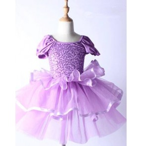 Violet purple sequins short sleeves round neck girls kids children modern performance ballet leotard tutu outfits dresses