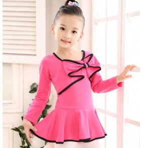 Violet turquoise purple light pink light blue fuchsia long sleeves bowknot  cotton girls kids child children toddlers gymnastics  competition professional leotard tutu skirt ballet dance   latin dresses