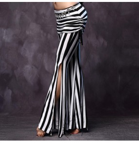White and black fashion striped long length pleated hip and waist leg side split women's ladies female competition stage performance belly dance costumes long pants