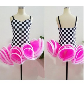 White and black plaid fuchsia patchwork backless strap girls kids children stage performance competition professional salsa latin samba dance dresses outfits