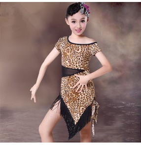 White and black polka dot black and leopard printed short sleeves round neck fringes irregular hem girls kids children stage performance competition professional latin salsa ballroom dance dresses outfits