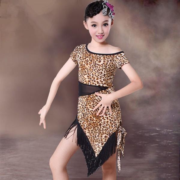 2671441c955f White and black polka dot black and leopard printed short sleeves round  neck fringes irregular hem girls kids children stage performance  competition ...