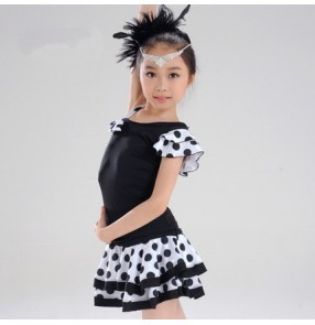 White and black polka dot printed split sets leotards skirts one shoulder girls kids children performance competition performance latin salsa cha dance dresses outfits costumes