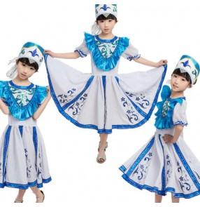 White and blue turquoise patchwork  embroidery pattern short sleeves girls kids children stage performance Russian folk dance dresses